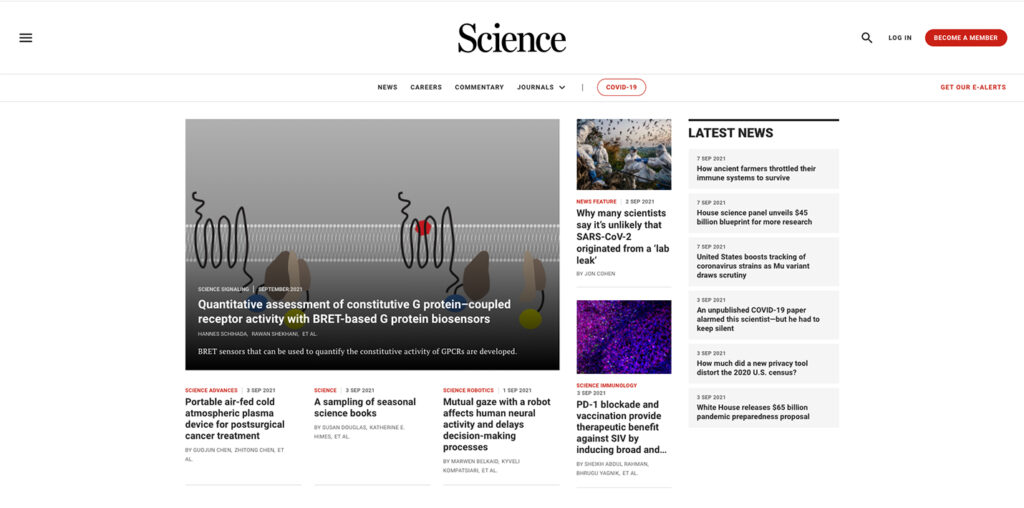 """Science.org """"latest news"""" page"""