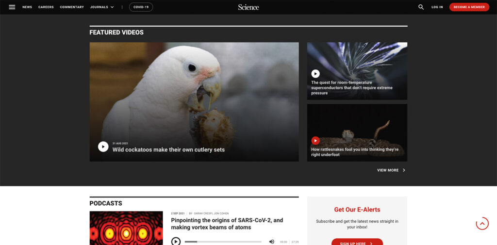 Science screenshot featuring a variety of content types